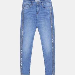 Zara Skinny Jean with Glittery Side Taping